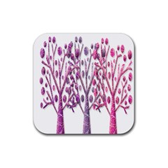 Magical pink trees Rubber Square Coaster (4 pack)