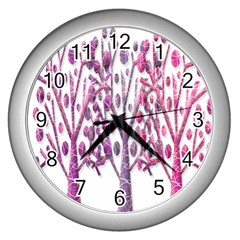 Magical pink trees Wall Clocks (Silver)