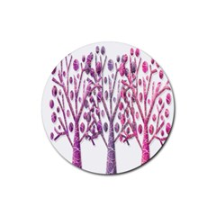 Magical pink trees Rubber Round Coaster (4 pack)