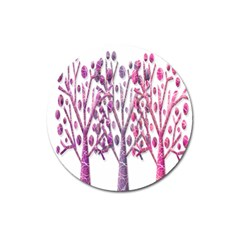 Magical pink trees Magnet 3  (Round)
