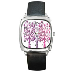 Magical pink trees Square Metal Watch