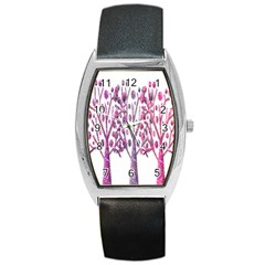 Magical pink trees Barrel Style Metal Watch