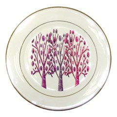 Magical pink trees Porcelain Plates