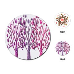 Magical pink trees Playing Cards (Round)