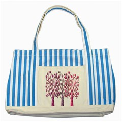 Magical pink trees Striped Blue Tote Bag