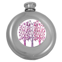Magical pink trees Round Hip Flask (5 oz)