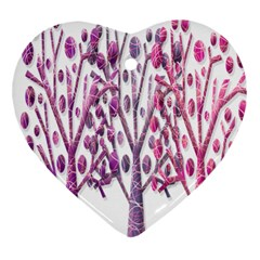 Magical pink trees Heart Ornament (2 Sides)