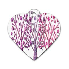 Magical pink trees Dog Tag Heart (Two Sides)