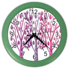 Magical pink trees Color Wall Clocks