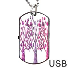 Magical pink trees Dog Tag USB Flash (One Side)