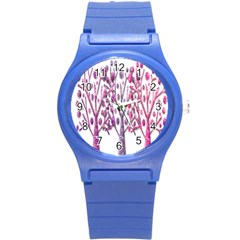 Magical pink trees Round Plastic Sport Watch (S)