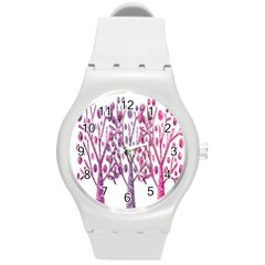 Magical pink trees Round Plastic Sport Watch (M)