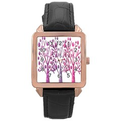 Magical pink trees Rose Gold Leather Watch