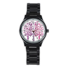 Magical pink trees Stainless Steel Round Watch