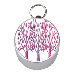 Magical pink trees Mini Silver Compasses