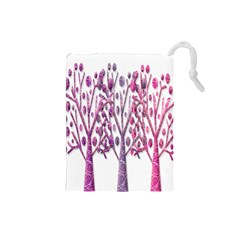 Magical pink trees Drawstring Pouches (Small)