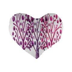 Magical pink trees Standard 16  Premium Flano Heart Shape Cushions