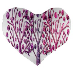 Magical pink trees Large 19  Premium Flano Heart Shape Cushions