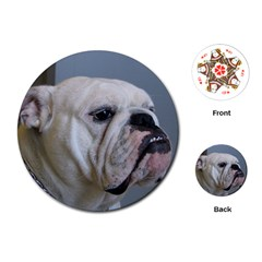 White Bulldog Playing Cards (Round)