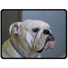 White Bulldog Fleece Blanket (Large)