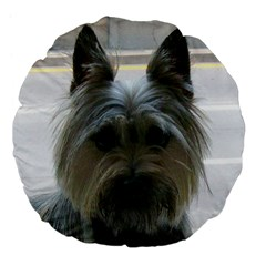 Cairn Terrier Large 18  Premium Flano Round Cushions