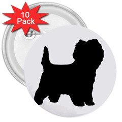 Cairn Terrier Silo Black 3  Buttons (10 pack)