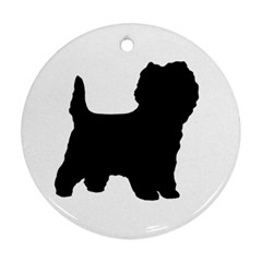 Cairn Terrier Silo Black Round Ornament (Two Sides)