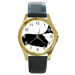 Ccardigan Welsh Corgi Silo Color Round Gold Metal Watch