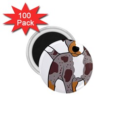 Catahoula Red Cartoon 1.75  Magnets (100 pack)
