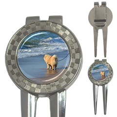 Chow Chow On Beach 3-in-1 Golf Divots