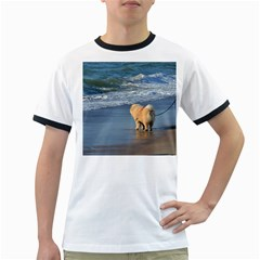 Chow Chow On Beach Ringer T-Shirts