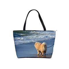 Chow Chow On Beach Shoulder Handbags