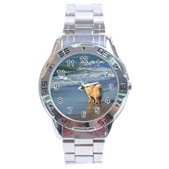 Chow Chow On Beach Stainless Steel Analogue Watch