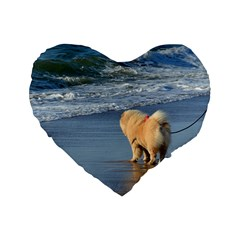 Chow Chow On Beach Standard 16  Premium Heart Shape Cushions
