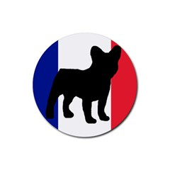 French Bulldog Silo France Flag Rubber Round Coaster (4 pack)