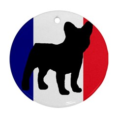 French Bulldog Silo France Flag Round Ornament (Two Sides)