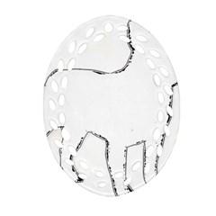 French Bulldog Silo Oval Filigree Ornament (2-Side)