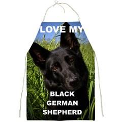 Black German Shepherd Love W Pic Full Print Aprons