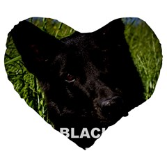 Black German Shepherd Love W Pic Large 19  Premium Heart Shape Cushions