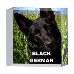 Black German Shepherd Love W Pic 5  x 5  Acrylic Photo Blocks