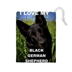 Black German Shepherd Love W Pic Drawstring Pouches (Large)