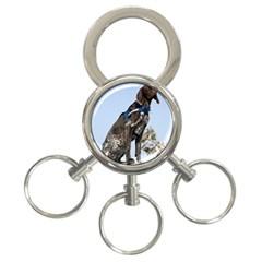 German Shorthair Pointer Sitting 3-Ring Key Chains