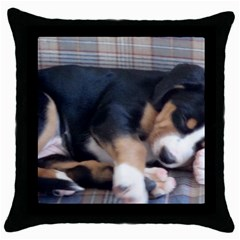 Greater Swiss Mountain Dog Puppy Throw Pillow Case (Black)