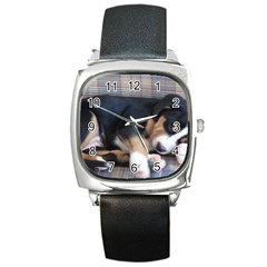 Greater Swiss Mountain Dog Puppy Square Metal Watch