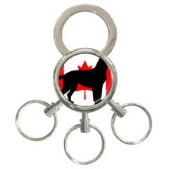 Labrador Retriever Silo Canadian Flag 3-Ring Key Chains
