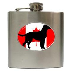 Labrador Retriever Silo Canadian Flag Hip Flask (6 oz)