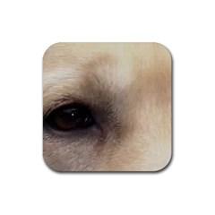 Yellow Labrador Eyes Rubber Coaster (Square)