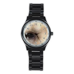 Yellow Labrador Eyes Stainless Steel Round Watch