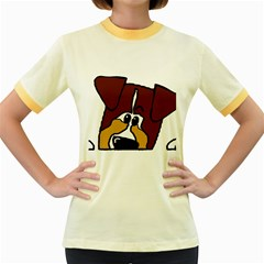 Red Tri Peeping Mini Aussie Dog Women s Fitted Ringer T-Shirts