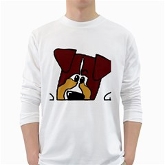 Red Tri Peeping Mini Aussie Dog White Long Sleeve T-Shirts